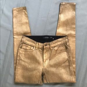 NWOT Ralph Lauren gold coated stretch skinny jeans